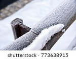 Snow And Frost On A Wooden...