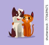 happy smiling cat and dog... | Shutterstock .eps vector #773639671