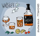 a set of a bottle and glasses... | Shutterstock .eps vector #773642485