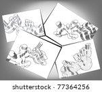 draft design of the conceptual... | Shutterstock .eps vector #77364256