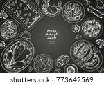 family dinner top view  vector... | Shutterstock .eps vector #773642569