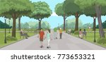 group of people in the park....   Shutterstock .eps vector #773653321