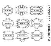 set of vector vintage frames on ... | Shutterstock .eps vector #773653327