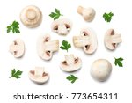 mushrooms with parsley isolated ... | Shutterstock . vector #773654311