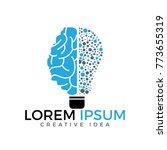 bulb and brain logo design.... | Shutterstock .eps vector #773655319