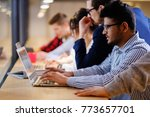 young colleagues discussing... | Shutterstock . vector #773657701