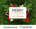 merry christmas and new year... | Shutterstock .eps vector #773658781