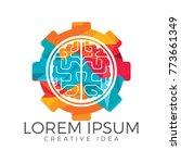 brain and gear cog logo design. ...   Shutterstock .eps vector #773661349