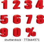 3d red metallic letter.0 9... | Shutterstock .eps vector #773664571
