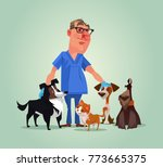 Stock vector vet doctor character with cats and dogs vector cartoon illustration 773665375