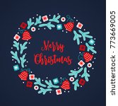 christmas wreath with bells ... | Shutterstock .eps vector #773669005