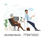 business meeting. boss and... | Shutterstock .eps vector #773671021