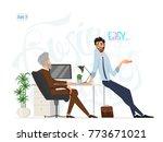 business meeting. boss and... | Shutterstock .eps vector #773671021