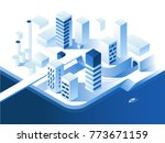 smart city technology. simple... | Shutterstock .eps vector #773671159
