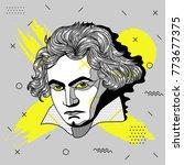 creative modern portrait of...   Shutterstock .eps vector #773677375
