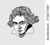ludwig van beethoven. vector... | Shutterstock .eps vector #773677387
