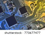 electronic circuit board close... | Shutterstock . vector #773677477