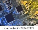 electronic circuit board close... | Shutterstock . vector #773677477