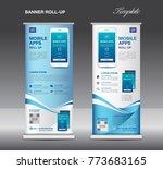 mobile apps roll up banner... | Shutterstock .eps vector #773683165