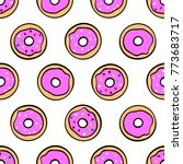 colorful cute donuts on white... | Shutterstock .eps vector #773683717