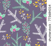 seamless pattern with floral... | Shutterstock . vector #773684314
