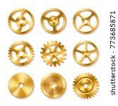 set of realistic golden gears... | Shutterstock .eps vector #773685871