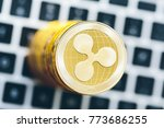 stack of ripple coins with a... | Shutterstock . vector #773686255