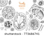 family dinner top view  vector... | Shutterstock .eps vector #773686741