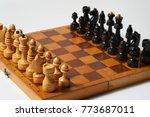 initial position of chessmen on ... | Shutterstock . vector #773687011