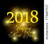 2018 new year shining banner.... | Shutterstock .eps vector #773687917