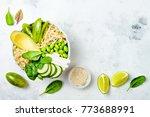 vegan  detox green buddha bowl... | Shutterstock . vector #773688991