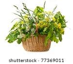wild flowers in basket - stock photo