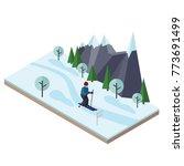 isometric man skiing. cross... | Shutterstock .eps vector #773691499