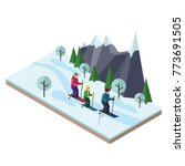 isometric happy family skiing.... | Shutterstock .eps vector #773691505