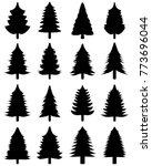 set of black christmas trees on ... | Shutterstock .eps vector #773696044
