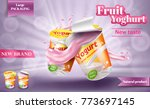 advertising yogurt template ... | Shutterstock .eps vector #773697145