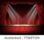 open red curtain and empty... | Shutterstock .eps vector #773697154