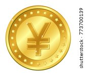 yuan and yen currency gold coin ... | Shutterstock .eps vector #773700139