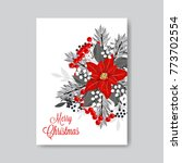 red poinsettia fir wteath berry ... | Shutterstock .eps vector #773702554