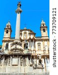 Small photo of Church of Saint Dominic (Chiesa di San Domenico e Chiostro) is the second most important church of Palermo, Sicily, Italy. And obelisk-like Colonna dell Immacolata (Immaculate Virgin, build in 1728)