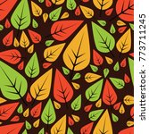 seamless pattern with leaves | Shutterstock .eps vector #773711245