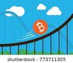 bitcoin coin on roller coaster | Shutterstock .eps vector #773711305
