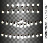 christmas light garland on a... | Shutterstock .eps vector #773711407
