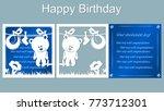 vector  card  star  bear  white ... | Shutterstock .eps vector #773712301