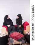 two arab women  setting at home ... | Shutterstock . vector #773718037