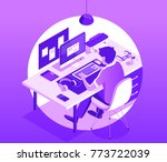 a man working on the computer.... | Shutterstock .eps vector #773722039