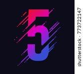 number 5 with liquid splash and ... | Shutterstock .eps vector #773722147