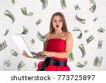 happy pretty woman using laptop ...   Shutterstock . vector #773725897
