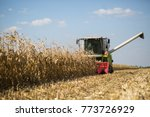 combine harvester works in a... | Shutterstock . vector #773726929