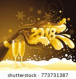new year 2018 vector banner ... | Shutterstock .eps vector #773731387